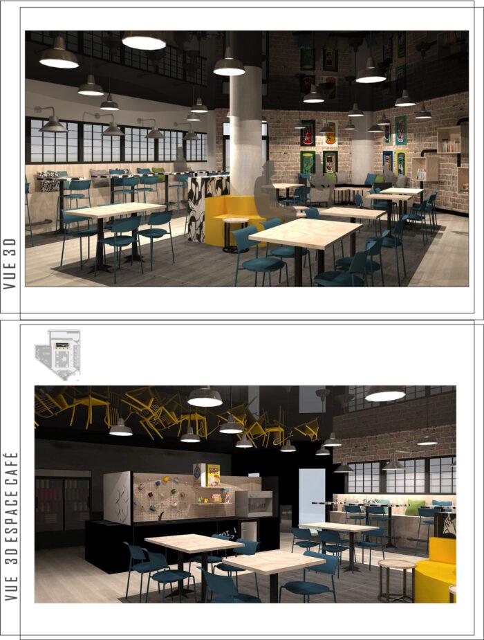 Design du café étudiant l'Exode