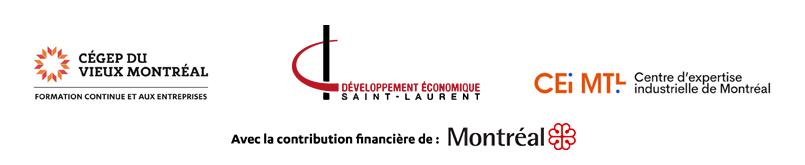 Logos des partenaires : Cégep du Vieux Montréal, Développement économique St-Laurent et le Centre d'expertise industrielle de Montréal, avec la contribution financière de la ville de Montréal.